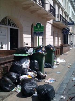 Rubbish in Portland Street, central Southampton