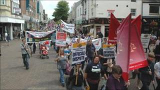 Protesters on the march