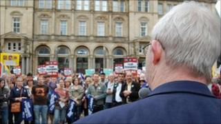 Patrick Murphy, secretary of the NUT, speaking at the rally in Leeds