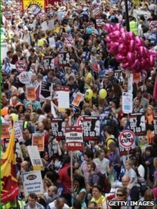 Public-sector workers take part in a march through central London on June 30, 2011 in London
