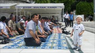 Men at Friday prayers