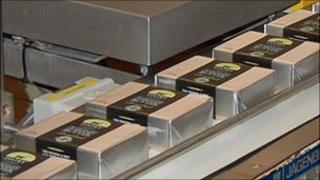 Guernsey butter being packaged in the dairy