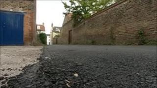 Newly resurfaced Seven Corners Lane