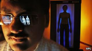 Going through a body scanner