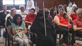 Members of the National Federation of the Blind at a special hearing in St Paul, the state capital of Minnesota