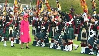 The Queen inspecting one of the battalions