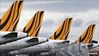 Tiger Airways aircraft grounded on the tarmac at Melbourne Airport