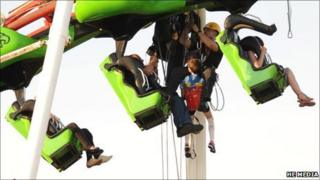 Rescue of nine people trapped on rollercoaster