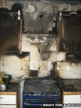 Damage caused by kitchen fire in St Saviour, Jersey