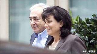 Dominique Strauss-Kahn and wife Anne Sinclair leave their residence in New York on 2 July 2011