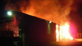 The barn fire at Warriner School in Bloxham