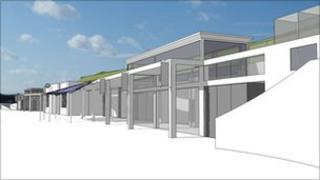 Artists' impression of the Lyme Regis Marine Beach Shelters