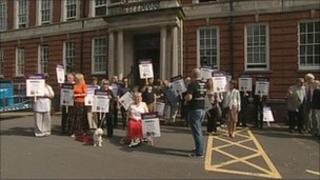 Rally outside county council headquarters