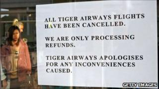 Notice saying Tiger flights have been cancelled