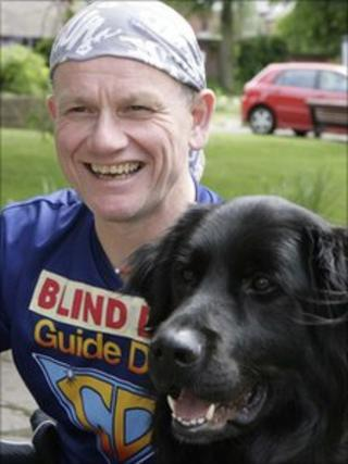 Dave Heeley with guide dog Wicksie
