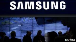 Visitors to a Samsung trade stand
