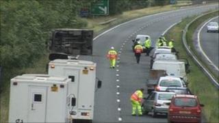 Prison van accident on A64