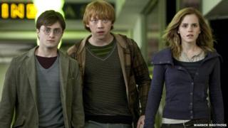 Daniel Radcliffe, Rupert Grint and Emma Watson as Harry Potter, Ron Weasley and Hermione Granger in Harry Potter and the Deathly Hallows: Part 1