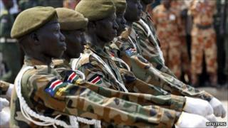 Sudan People's Liberation Army (SPLA) soldiers march during a rehearsal of the independence day ceremony in Juba, 7 July 2011