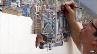 Ben Johnson working on the Liverpool Cityscape