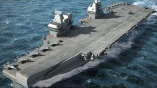 Artist's impression of one of the Royal Navy's super aircraft carriers