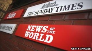 A News of the World sign