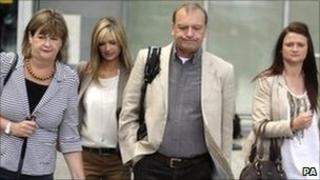 The Hawker family departing from Heathrow Airport for the trial in Japan