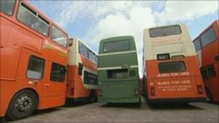 Shamrock buses in the depot in Holton Heath, Poole