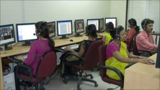 People working at a call centre in Mumbai, India
