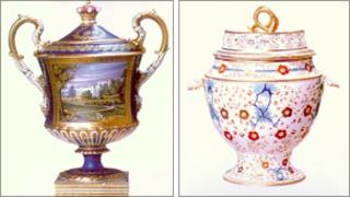 Porcelain vase and ice pail