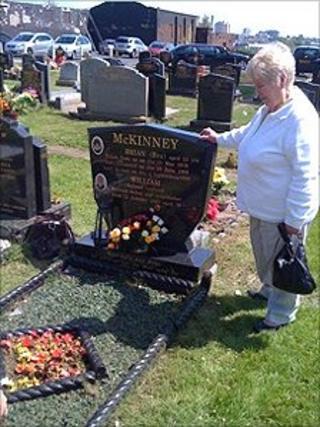 Margaret McKinney at Brian's grave