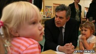 Former Prime Minister Gordon Brown visiting a Sure Start centre in 2010