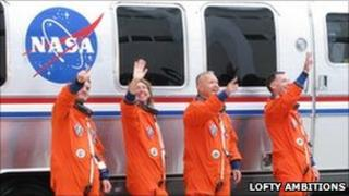 The Atlantis crew - Rex Walheim, Sandy Magnus, Doug Hurley, and Chris Ferguson.