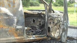 Vehicle which has been burned