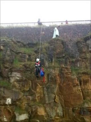 Cliff rescue at Whitley Bay