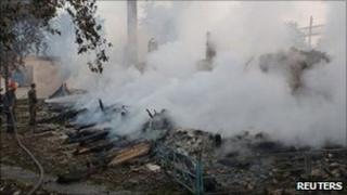 Fire-fighters battle the blaze in Bile, Ukraine. Photo: 10 July 2011