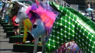 Glass fibre donkeys on Guernsey's Albert Pier