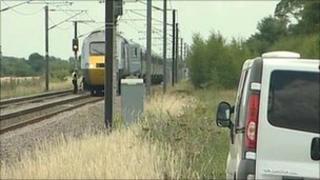 Scene of train accident