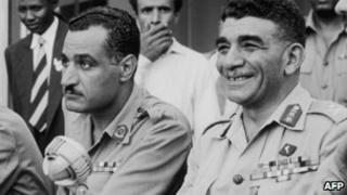 Muhammad Naguib (R) with Gamal Abdul Nasser in Cairo, 15 August 1953