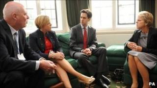 Labour leader Ed Miliband meets with the family of murdered school girl Milly Dowler (from left to right) father Bob, sister Gemma and mother Sally, at his office in Westminster
