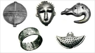Photographs of some of the items that have been stolen from The Museum of Civilisations of Ivory Coast