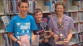Part of the team, Sol, Daniel and Cockermouth school librarian Helen Farrar