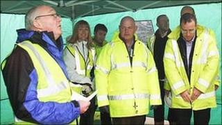 Reverend Canon Gary Wemyss (left) blesses the Crake Valley Wastewater Treatment Works