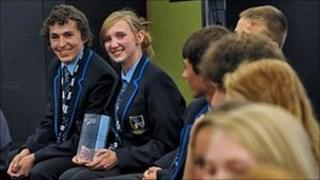 Lincoln Castle Academy pupils with their best idea award on Dragons' Den