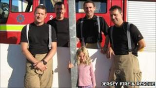 Firefighters from Red Watch with Maya Berner