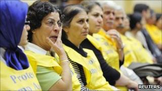Relatives of residents of Camp Ashraf during a hearing of the US House Foreign Affairs Committee on Capitol Hill (7 July 2011)