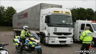 Lorry stopped by police