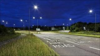 The new LED street lights in action