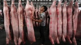 Slaughtered pig at a pork wholesale market in Hefei,