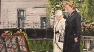 Painting of The Queen and Mary McAleese